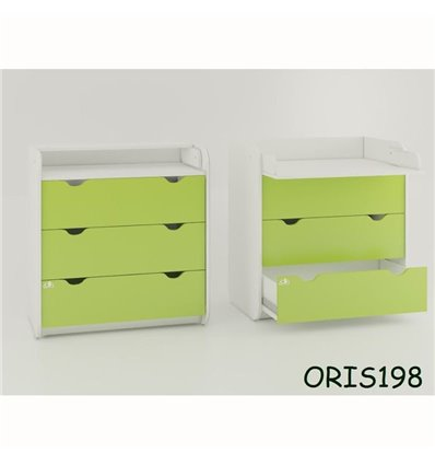 Комод-пеленатор Oris на 3 ящики зелений