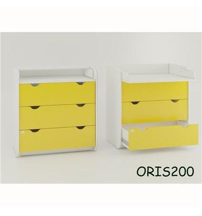Комод-пеленатор Oris на 3 ящики жовтий