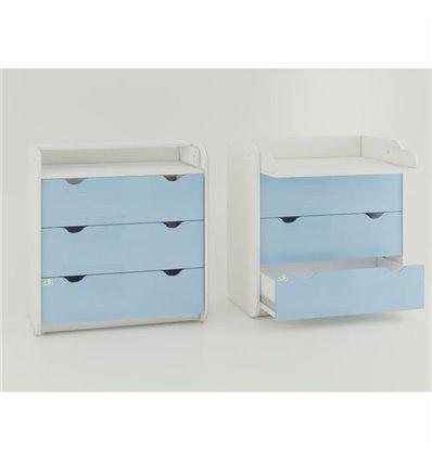 Комод-пеленатор Oris на 3 ящики блакитний