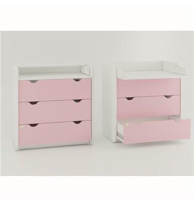 Комод-пеленатор Oris на 3 ящики розовий