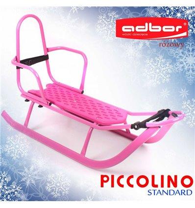 Санки Adbor Piccolino зі спинкою рожеві