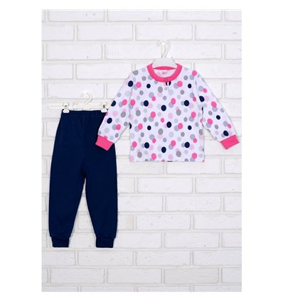 Піжама Татошка 01602 білий/синій/рожевий/принт круги