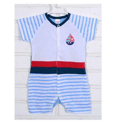 Пісочник напівкомбінезон Татошка 16153 білий-блакитний-синій-червоний