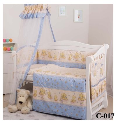 Дитячий постільний комплект Twins Comfort 8 елементів C-017 Ведмедики з зірками