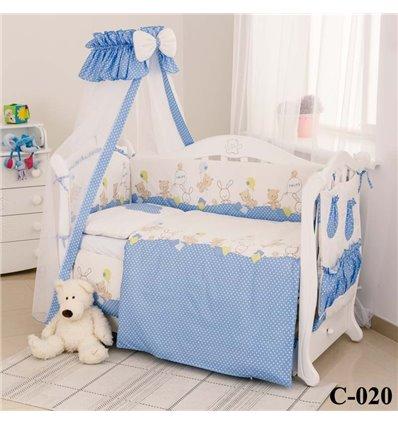 Дитячий постільний комплект Twins Comfort 8 елементів C-020 Горошки