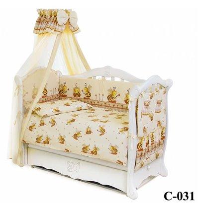Дитячий постільний комплект Twins Comfort 8 елементів C-031 Бджілки