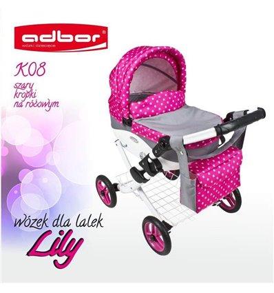 Коляска для ляльки Adbor Lily K08 сірий горошок на рожевому