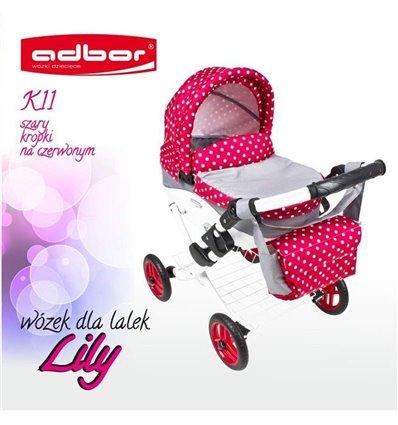 Коляска для ляльки Adbor Lily K11 сірий горошок на червоному