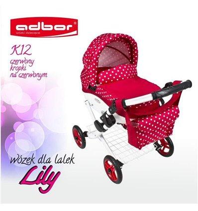 Коляска для ляльки Adbor Lily K12 червоний горошок на червоному