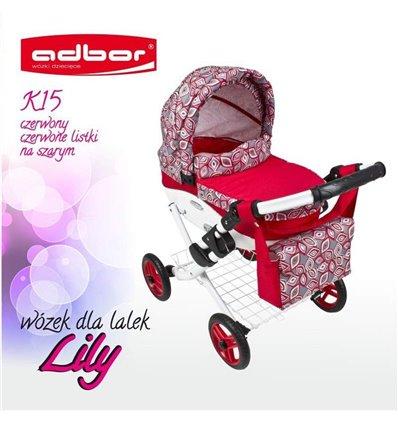 Коляска для ляльки Adbor Lily K15 червоний листочки на сірому