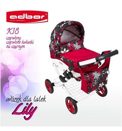 Коляска для ляльки Adbor Lily K18 червоний квіти на чорному