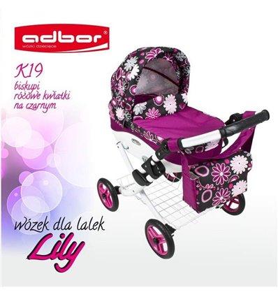 Коляска для ляльки Adbor Lily K19 малиновий квіти на чорному