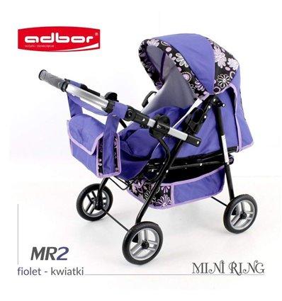 Коляска для ляльки Adbor Mini Ring MR2 фіолетовий квіти на чорному