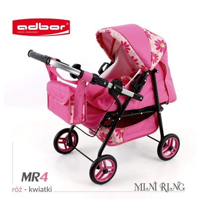 Коляска для ляльки Adbor Mini Ring MR4 рожевий квіти на кремовому