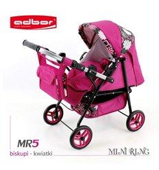 Коляска для ляльки Adbor Mini Ring MR5 малиновий квіти на чорному