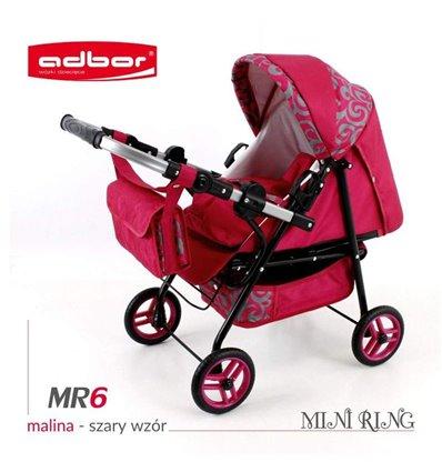 Коляска для ляльки Adbor Mini Ring MR6 малиновий узор сірий