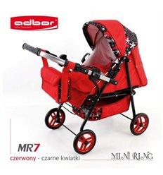 Коляска для ляльки Adbor Mini Ring MR7 червоний квіти на чорному