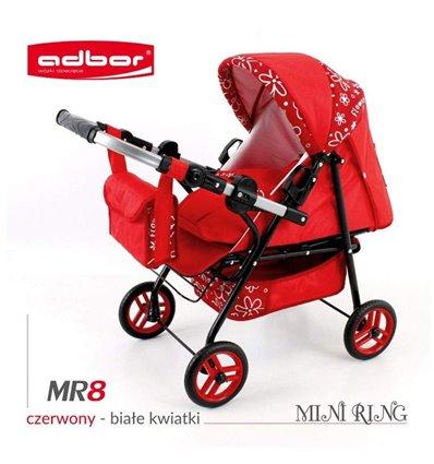 Коляска для ляльки Adbor Mini Ring MR8 червоний квіти маленькі на червоному