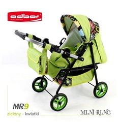 Коляска для ляльки Adbor Mini Ring MR9 салатовий квіти на чорному