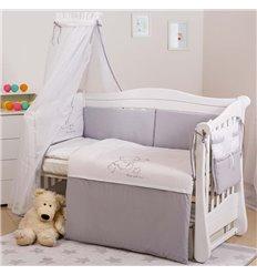 Дитячий постільний комплект Twins Dolce 8 елементів D-008 Loving Bear white-grey