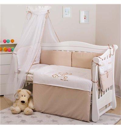 Дитячий постільний комплект Twins Dolce 8 елементів D-009 Loving Bear white-beige