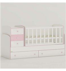 Дитяче ліжко-трансформер Oris Maya New біло-рожевий