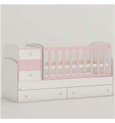Дитяче ліжко-трансформер Oris Maya New біло-рожевий, кольорове бильце