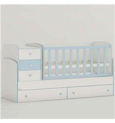 Дитяче ліжко-трансформер Oris Maya New біло-голубий, кольорове бильце