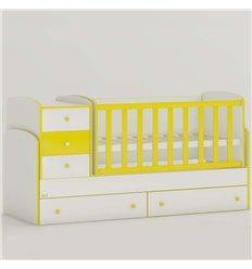 Дитяче ліжко-трансформер Oris Maya New біло-жовтий, кольорове бильце