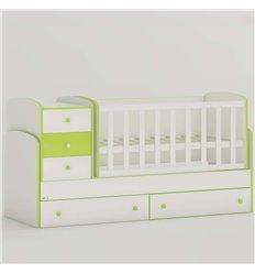 Дитяче ліжко-трансформер Oris Maya New біло-зелений