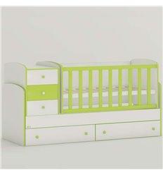 Дитяче ліжко-трансформер Oris Maya New біло-зелений, кольорове бильце