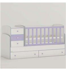 Дитяче ліжко-трансформер Oris Maya New біло-ліловий, кольорове бильце