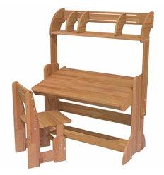 Парта-мольберт регульована ДомовичОК 90 см. бук зрощений з стільцем і поличкою