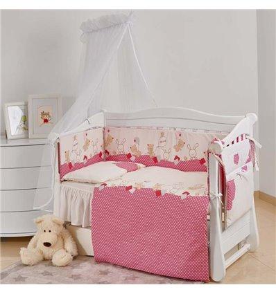 Дитячий постільний комплект Twins Comfort New 7 елементів C-119 Горошки рожевий