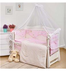 Дитячий постільний комплект Twins Comfort New 7 елементів C-133 Котики рожевий