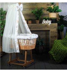 Люлька плетена Sweet Dream з постіллю Ведмедики в бежевому светрі