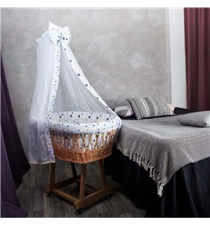 Люлька плетена Sweet Dream з постіллю Зорепад: зірки сині, бежеві на білому