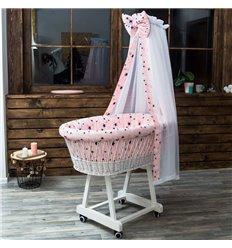 Люлька плетена Sweet Dream з постіллю Зорепад: зірки білі, сірі, сині на рожевому