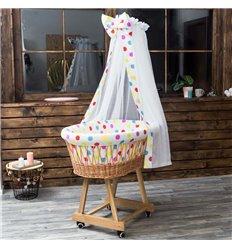 Люлька плетена Sweet Dream з постіллю Різнокольоровий горошок на білому