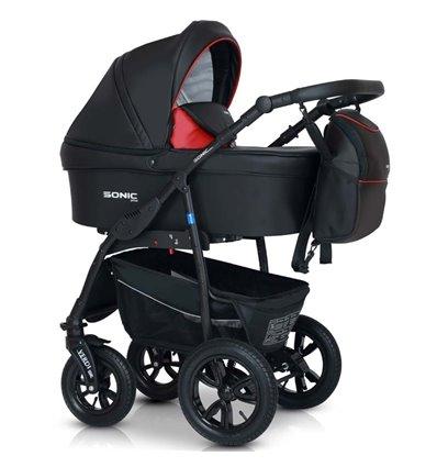 Дитяча коляска 3 в 1 Verdi Sonic Plus 01 чорна з червоним