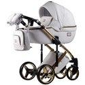 Дитяча коляска 2 в 1 Adamex Luciano Gold Q-107 біла еко шкіра