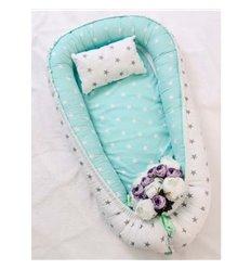Кокон-гніздо Добрий Сон Baby Line 70х110см Мятно-білий