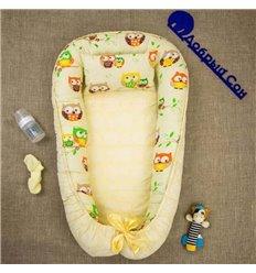 Кокон-гніздо Добрий Сон Baby Line 70х110см Сови крупні