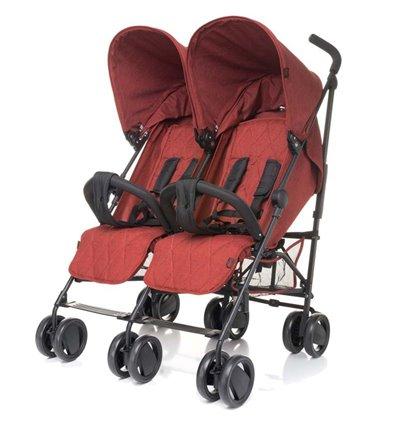 Прогулянкова коляска для двійні 4Baby Twins червона