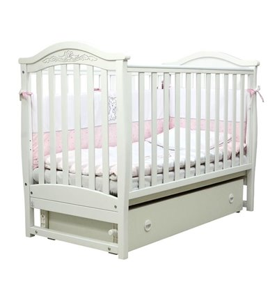 Дитяче ліжечко Верес ЛД3 з маятником і шухлядою біле