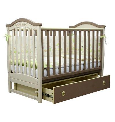 Дитяче ліжечко Верес ЛД3 з маятником і шухлядою капучіно