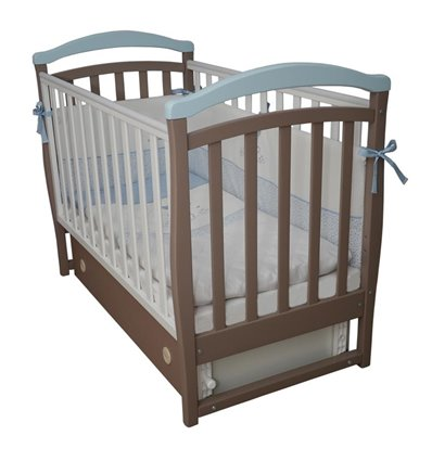 Дитяче ліжечко Верес ЛД6 з маятником і шухлядою капучіно-голубий