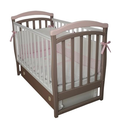 Дитяче ліжечко Верес ЛД6 з маятником і шухлядою капучіно-рожевий