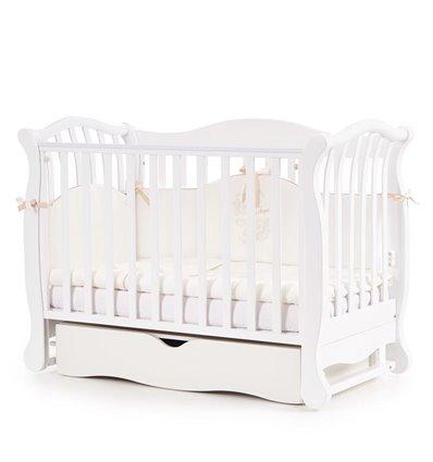 Дитяче ліжечко Верес Соня ЛД19 з маятником і шухлядою біле