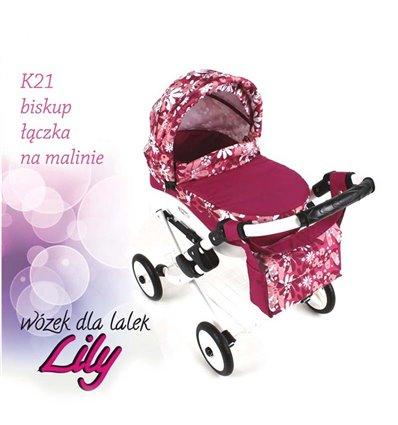 Коляска для ляльки Adbor Lily K21 малиновий квіти на малиновому